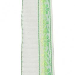 Ширит 25 мм бял кант цветя зелен