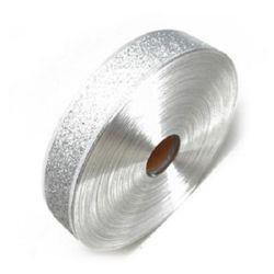 Лента Сатен 38 мм с алуминиев кант сребърна с брокат -1 метър