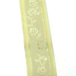 Лента органза 25 мм шифон с цветя -1 метър