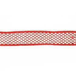Лента органза 25 мм бяла с мрежа брокат червена -2 метра