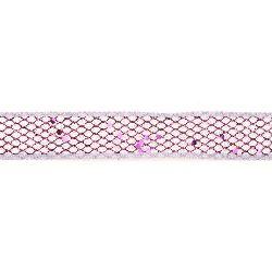 Panglică Organza 25 mm albă cu plasă brocart violet -2 metri