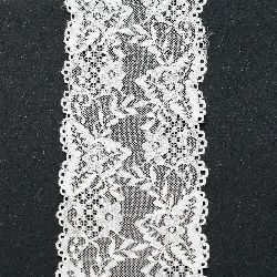 Лента дантела еластична 105 мм бяла - 1 метра