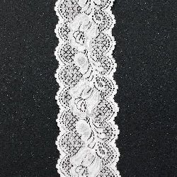 Лента дантела еластична 65 мм бяла - 1 метра