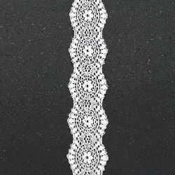 Δαντέλα κορδέλα ελαστική 40 χιλ. Λευκό - 1 m