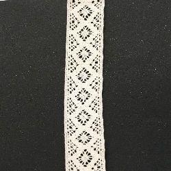 Лента дантела памук 40 мм бежова - 1 метра