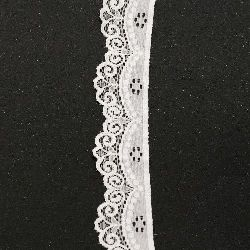 Lace Border Ribbon elastic 35 mm white - 1 meters