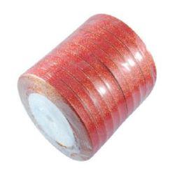 Лента органза 6 мм червена със златна нишка -22 метра
