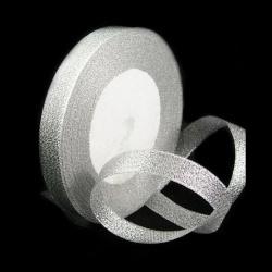 Banda de organza 15 mm argintiu ~ 22 metri