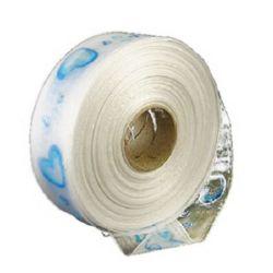 Ширит Органза 38 мм бяла със синя щампа -1 метър