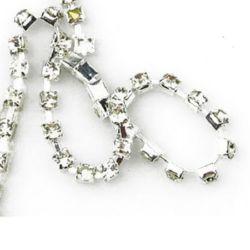 Lanț de strasuri, margele de sticlă, cusut, confecționarea bijuteriilor, Grade A SS14 transparent -3.3mm -1 metru