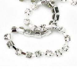 Lanț de strasuri, margele de sticlă, cusut, confecționarea bijuteriilor, grad A 4 mm x 1 m