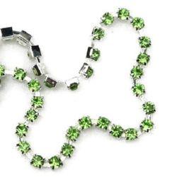 Метална лента кошничка с кристал стъкло SS14 зелен 1 качество -3.3 мм -1 метър