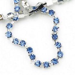 Lanț de strasuri metalice, margele de sticlă, cusut, confecționarea bijuteriilor, calitatea A albastru 1 calitate -3,3 mm -1 metru