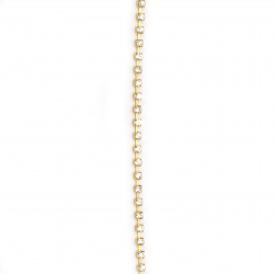 Метална лента кошничка цвят злато с кристал стъкло SS8 прозрачен 1 качество -2.5 мм -1 метър