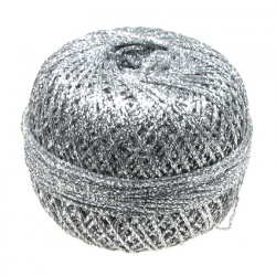Braided Metallic Cord, Gift Wrapping, Decoration, 10% Polyamide 50 grams silver -400 meters