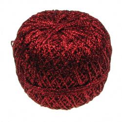 Ламе плетено Ст 90 процента ламе 10 процента полиамид 50 грама червено -350 метра