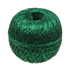 Braided Metallic Cord, Gift Wrapping, Decoration, 10% Polyamide 50 grams green -350 meters