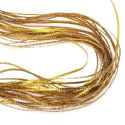 Braided Metallic Cord, Gift Wrap Craft String 3mm flat gold -100 meters