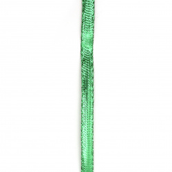 Braided Metallic Cord, Gift Wrap Craft String  8 mm flat green -5 meters