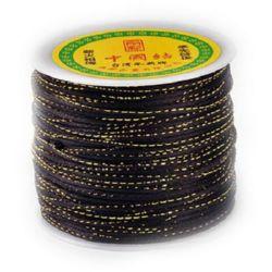 Snur poliester cu lame 2 mm negru -1 metru