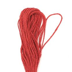 Cotton Cords, Embroidery, Jewelry Making 6 threads ~ 8 meters RED
