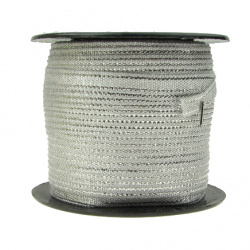 Braided Metallic Cord, Gift Wrap Craft String 6 mm silver -50 meters
