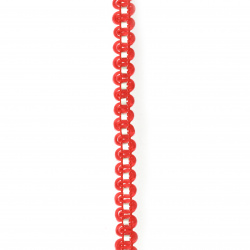 Ширит полиестер 7 мм с ламе червен ~24 метра