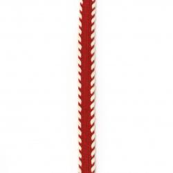 Ширит 10 мм памук червен с бяло -1 метър