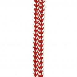 Ширит 15 мм памук червен с бяло -1 метър