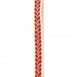 Ширит 15 мм памук бял с червено -1 метър