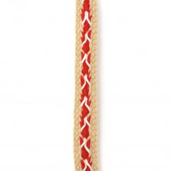 Ширит 12 мм памук бежов с червено и бяло -1 метър