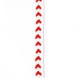 Ширит 10 мм памук бял с червено -1 метър