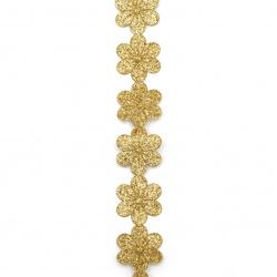 Ширит цвете памучна основа 25 мм брокат злато -1 метър