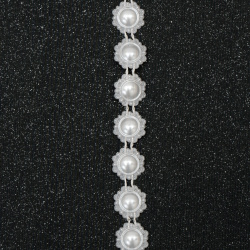ABS Plastic Imitation Pearl Ribbon Trimming, Wedding Decoration Accessroies 15 mm white -1 meter