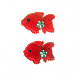 Риба 40 мм червена с цвете -10 броя