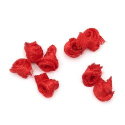 Textile rose for decoration of tiaras, hairpins 11 mm red - 50 pieces