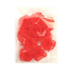 Artificial rose flowers tulle for wedding party, home decoration 25 mm red - 10 pieces