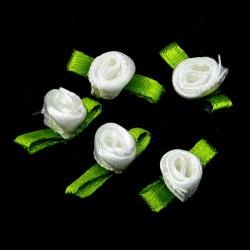 Textile rose for decoration of greeting cards, wedding albums, frames  8 mm