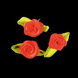 Τριαντάφυλλα σατέν 12x30 mm με φύλλα, κόκκινο  -50 τεμάχια