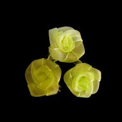 Τριαντάφυλλα οργάντζα 25 mm ανοιχτό πράσινο -10 τεμάχια