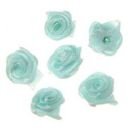 Τριαντάφυλλα σατέν 11 mm γαλάζιο -50 τεμάχια