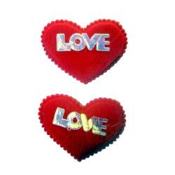 Сърце плюш 45x30 мм LOVE с кант червено -10 броя