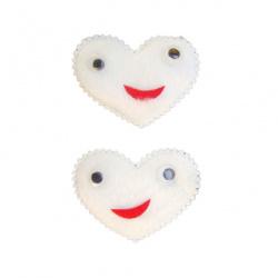 Сърце плюш 45x35 мм мърдащи очи бяло -10 броя