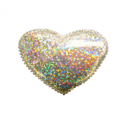 Сърце плат 54x40 мм бяло лъскаво дъга -10 броя