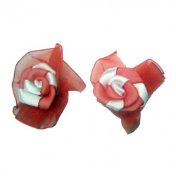 Rose 50 mm satin and organza red and white -10 pieces