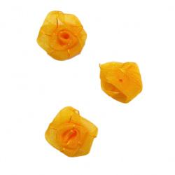 Rose flower head, tulle element for decoration of wedding invitations, cards, DIY wreath, scrapbook craft25 mm orange -10 pieces