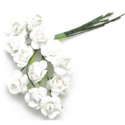 Bouquet of paper Roses with wire stems 15 mm white - 12 pieces