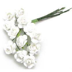 Роза букет хартия и тел 15 мм бяла -12 броя