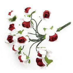 Роза букет хартия и тел 15 мм бяла с червено -12 броя