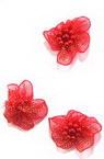 Λουλούδι οργάντζα 30 mm κόκκινο με πέρλες -10 κομμάτια